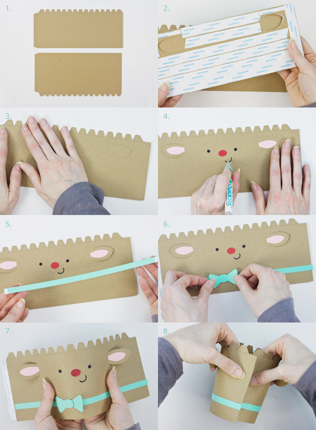 Die Cut Reindeer Cylinder Box Assembly Instructions, Part 1