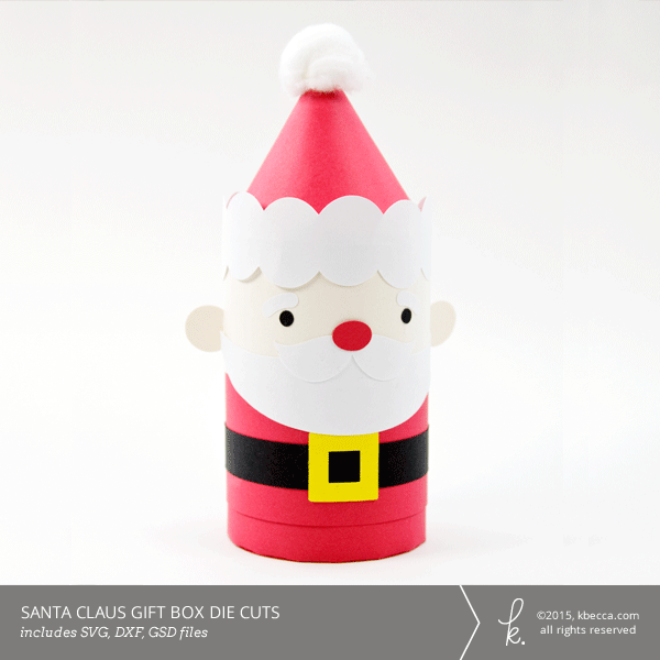 Santa claus cylinder gift box die cuts svg file included