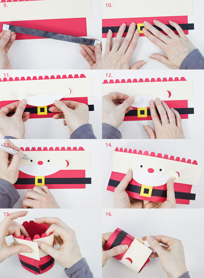 Die Cut Santa Cylinder Box Assembly Instructions, Part 2