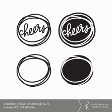 Cheers Scribble Circle Die Cuts (Commercial Licensing Available)