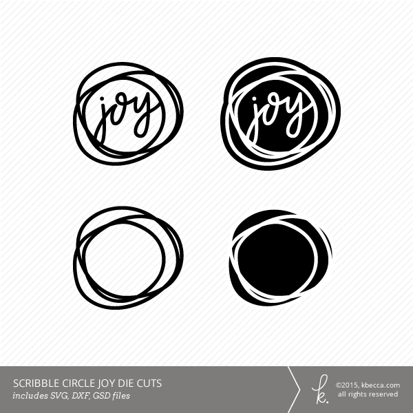 Joy Scribble Circle Die Cuts (Commercial Licensing Available)