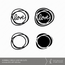 Love Scribble Circle Die Cuts (Commercial Licensing Available)