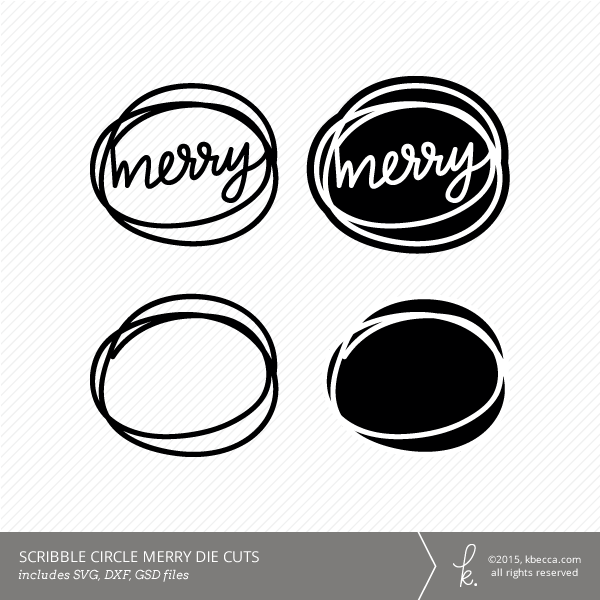 Merry Scribble Circle Die Cuts (Commercial Licensing Available)