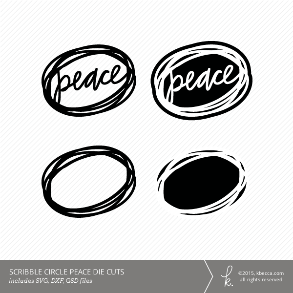 Peace Scribble Circle Die Cuts (Commercial Licensing Available)