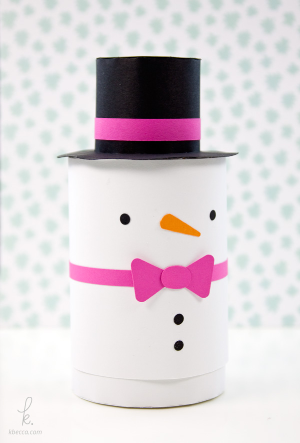 DIY Die Cut Snowman Cylinder Gift Box