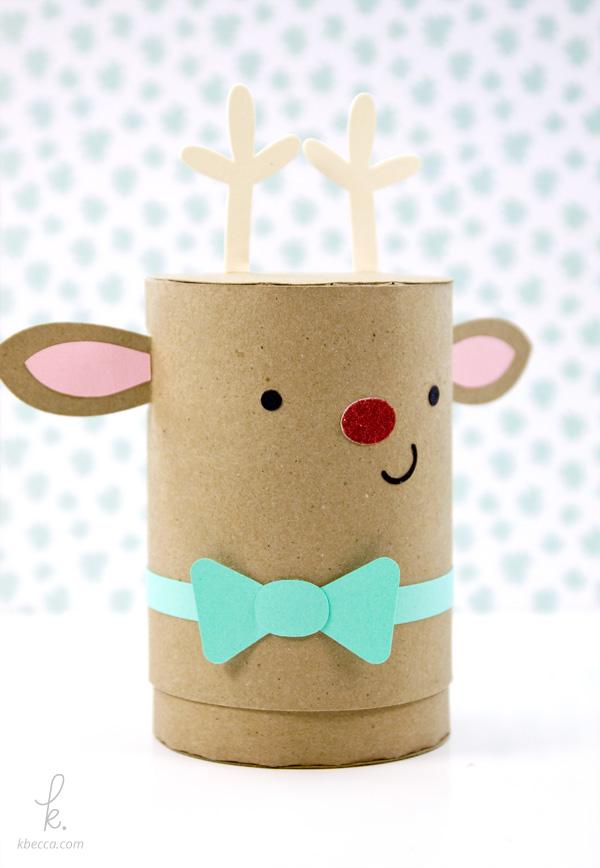 DIY Die Cut Reindeer Cylinder Gift Box