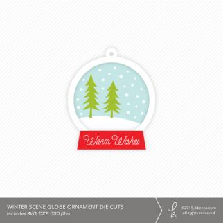 Winter Scene Snow Globe Ornament Die Cuts
