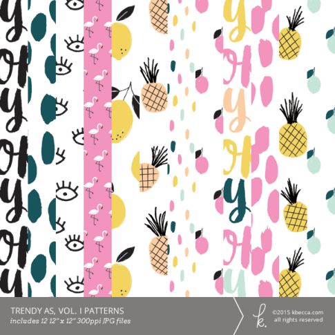 Trendy As, Vol. 1 Seamless Digital Patterns (Commercial Licensing Available)