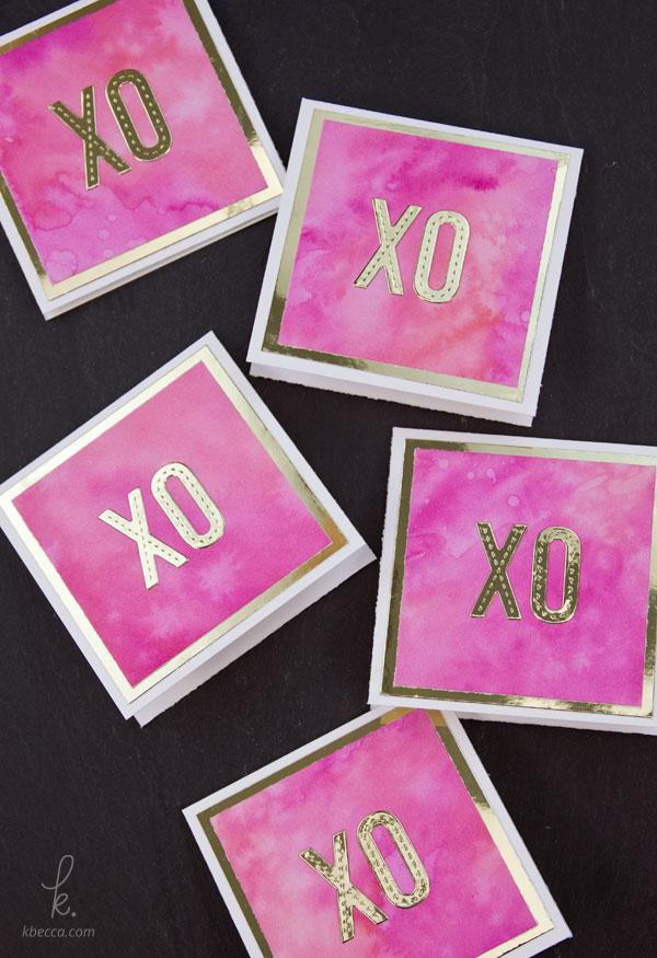 DIY Distress Ink Watercolor & Gold Foil Mini Cards