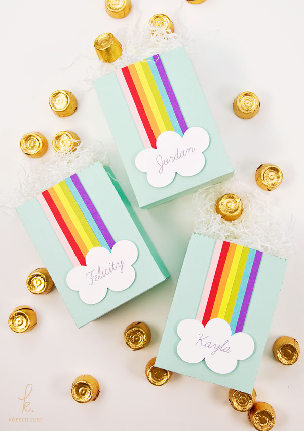 DIY Personalized Rainbow Cloud Treat Bags (Die Cutting Tutorial)
