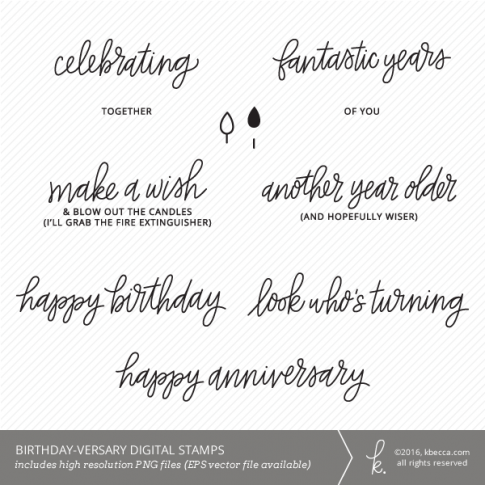 Birthday-versary Digital Stamps from k.becca (Commercial Licensing Available)