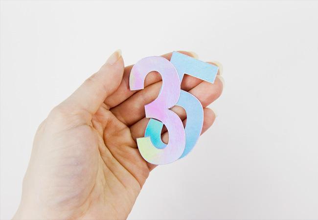 DIY Iridescent Foil Numbers