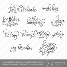 Hand Lettered Birthday Phrases Digital Stamps + Overlays (Commercial Licensing Available)