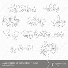 Hand Lettered Birthday Sketch Words & Phrases