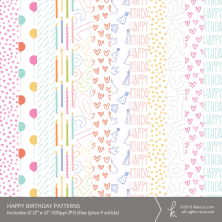 Happy Birthday Digital Patterns (Vector Files & Commercial Licensing Available)