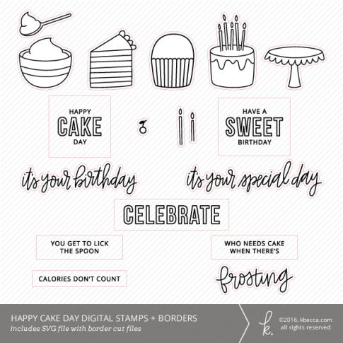 Cake Day SVG Digital Stamps + Border Die Cuts