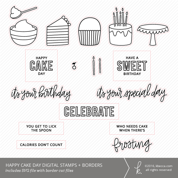 Cake Day SVG Digital Stamps + Border Die Cuts