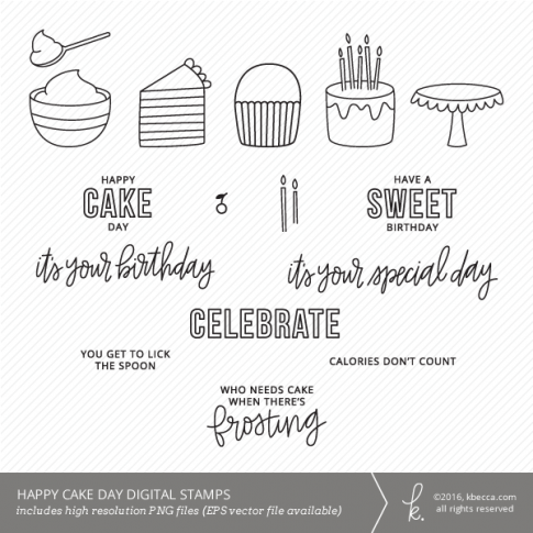 Cake Day Birthday Digital Stamps (Commercial Licensing Available)