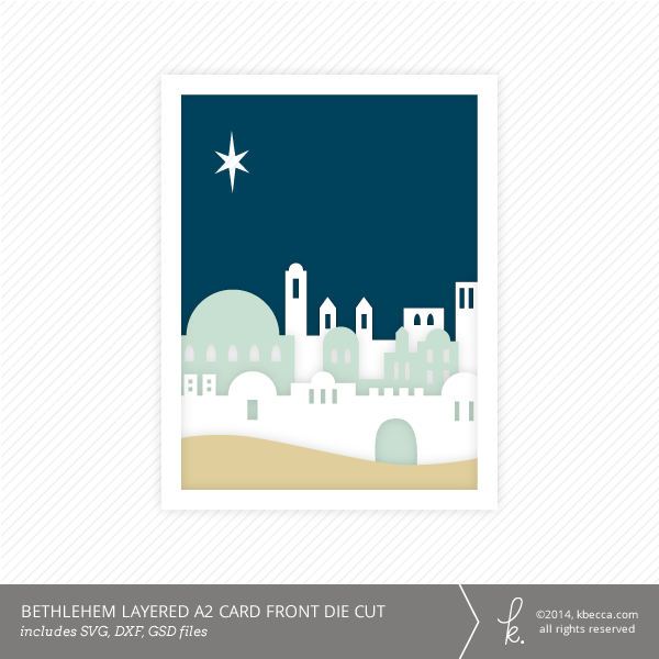 Bethlehem A2 Layered Card Front Die Cut from k.becca