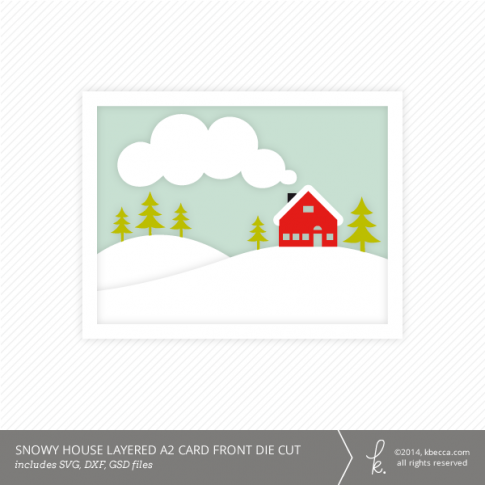 Snowy House A2 Layered Card Front Die Cut from k.becca