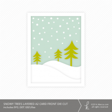 Snowy Trees A2 Layered Card Front Die Cut from k.becca