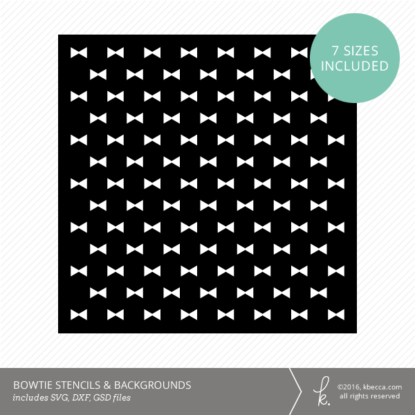 Bowtie Stencil & Background Die Cut Files (SVG included)