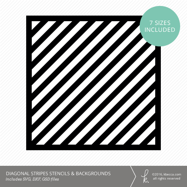 Diagonal Stripes Stencil & Background Die Cut Files (SVG included)