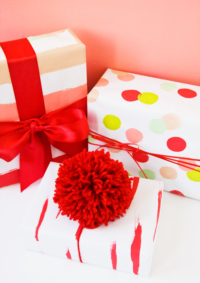 DIY Hand Painted Wrapping Paper + Oversized Pom Pom Gift Topper