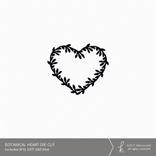 Botanical Heart Digital Die Cutting File (Commercial License Available)