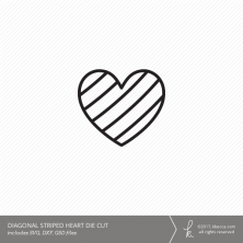 Heart Digital Cut File - Diagonal Lines (Commercial License Available)