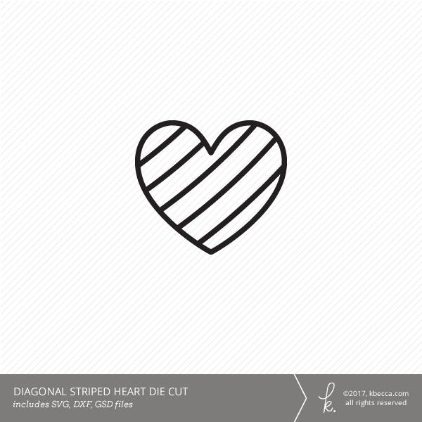 heart die cut diagonal lines svg file included