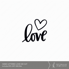 Hand Lettered Love Word Digital Die Cut (Commercial License Available)