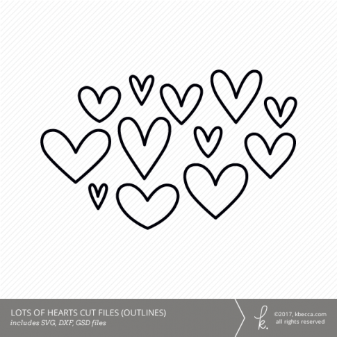 Lots of Hearts Digital Cut Files - Outlines (Commercial License Available)