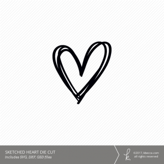 Sketched Heart Digital Cut File (Commercial License Available)