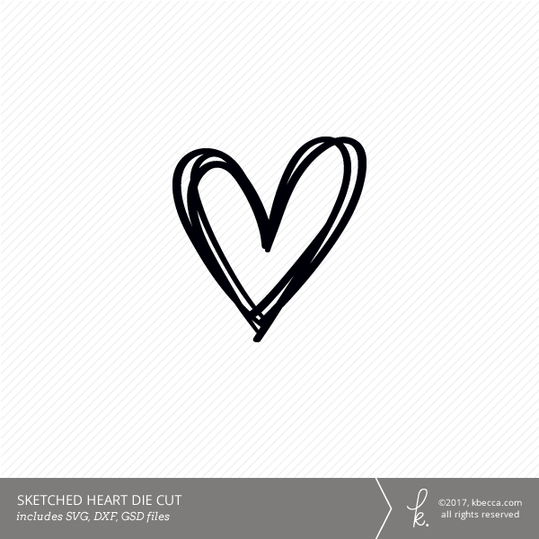 Sketched Heart Die Cut Svg File Included