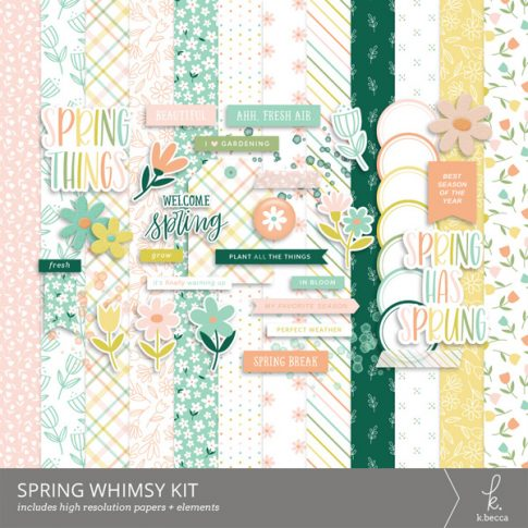 Spring Whimsy Digital Scrapbooking Kit from k.becca