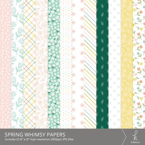 Spring Whimsy Digital Patterned Papers from k.becca