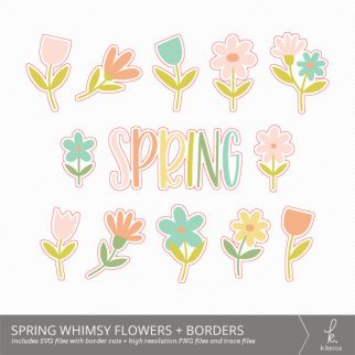 Spring Whimsy Flowers Digital Elements + Cut Files from k.becca