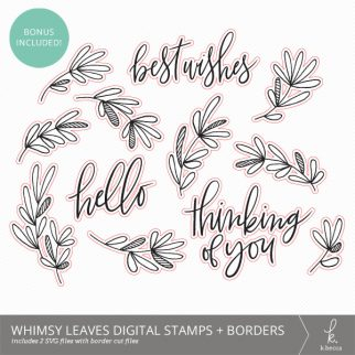 Whimsy Leaves Botanical SVG Digital Stamps + Border Cuts from k.becca