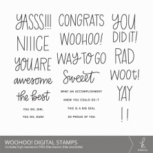 Woohoo! Hand Lettered Digital Stamps / Digistamps from k.becca (Commercial Licensing Available)