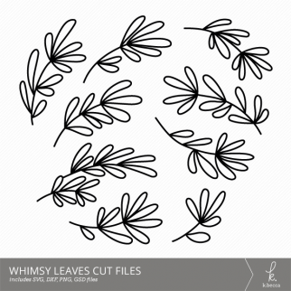 Whimsy Leaves Digital Cut Files from k.becca (Commercial Licensing Available)