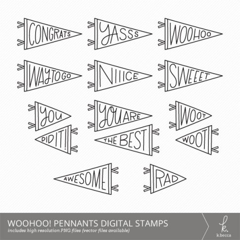 Woohoo! Pennants Digital Stamps (Commercial Licensing Available)