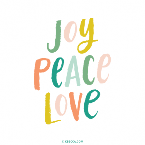 Brush Lettering Joy Peace Love Vector Clip Art | kbecca.com