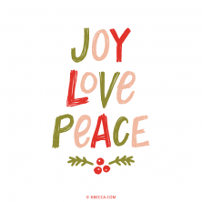 Hand Lettered Joy Love Peace Vector Clip Art | kbecca.com
