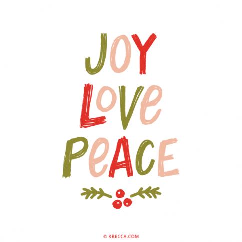 Hand Lettered Joy Love Peace Vector Clip Art | kbecca.com