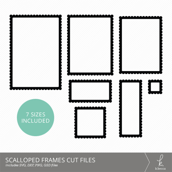 Scalloped Rectangle Frames Cut Files (SVG Included)