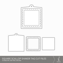Square Scallop Shaker Tag Cut Files from k.becca
