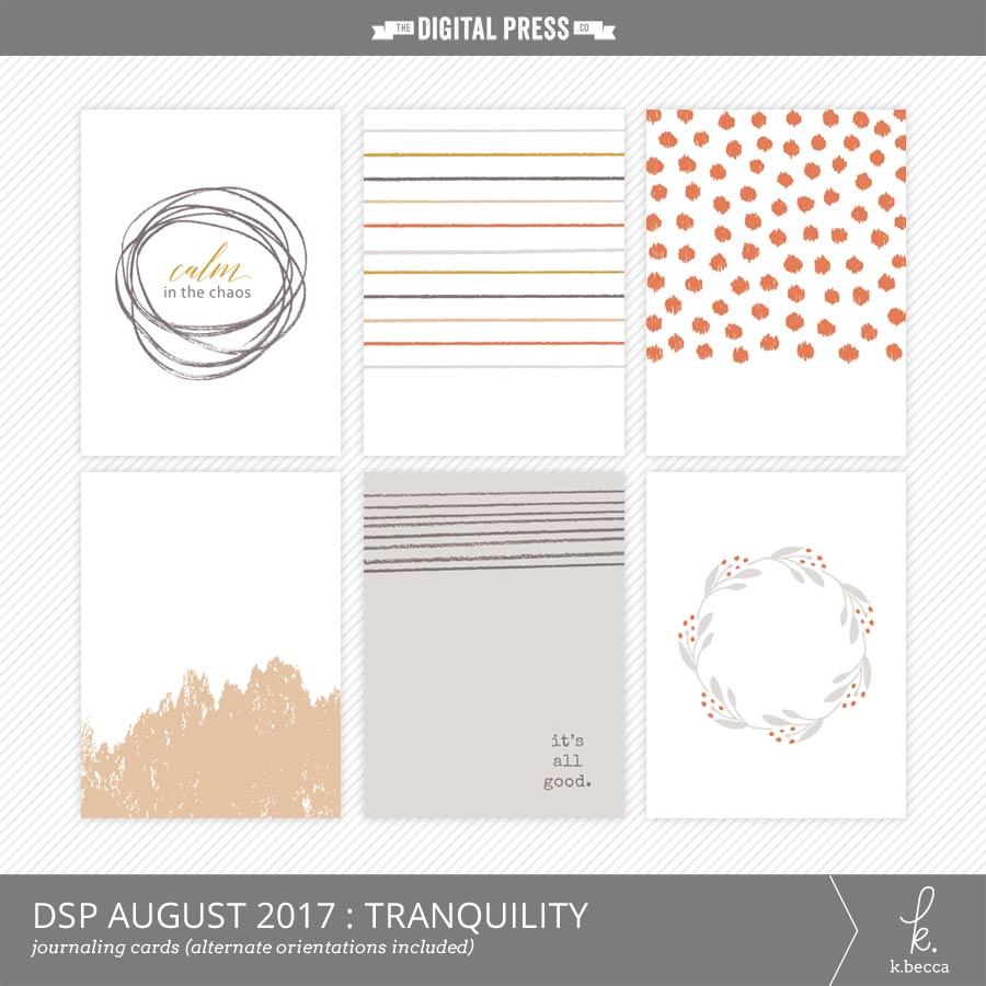DigiScrap Parade, August 2017 : Tranquility Journaling Cards Freebie