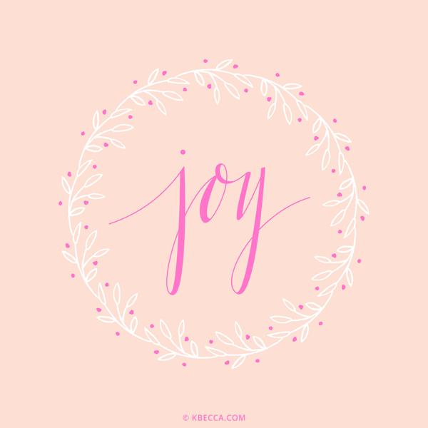 Hand Lettered Joy Wreath Vector Clip Art | kbecca.com