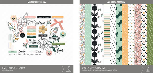 k.becca Everyday Charm Digital Scrapbooking Elements & Papers